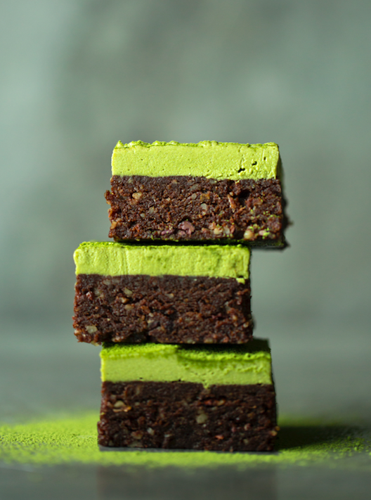 RAW BROWNIES WITH MATCHA FROSTING